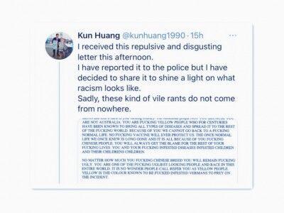【豪州】「全中国人は抹殺されるべき」「ごみ中国人」 中国系議員に手紙が届く オーストラリア