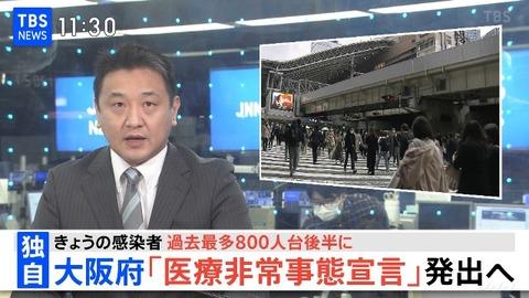 【速報】大阪新型コロナ感染者800人台後半の見通し 4月7日