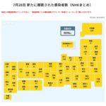 【7/28新型コロナ】日本+9576(東京3177人、神奈川1051人、埼玉870人、大阪798人、千葉577人、福岡405人、五輪関係者16人等)検査数5.8万件(速報値)